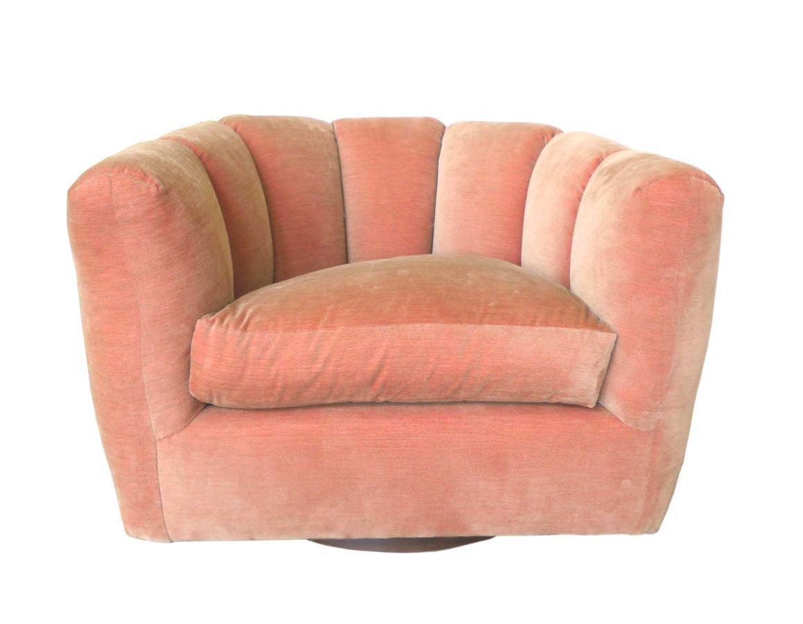 Milo Baughman Style Channel Back Swivel Club Chair Chairish