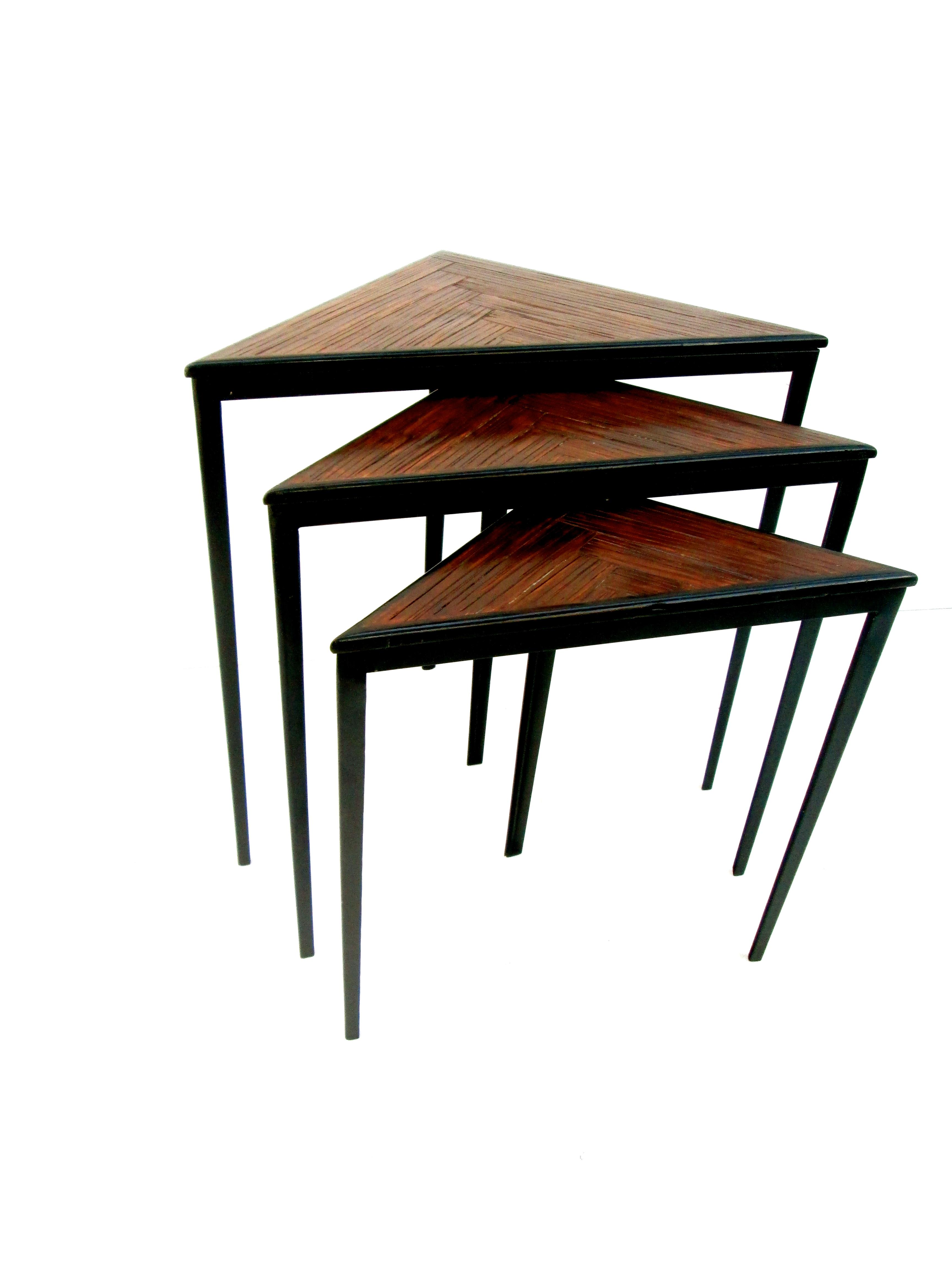 Mid Century Iron Patio Chairs: Mid-Century Iron & Wood Triangular Nesting Tables