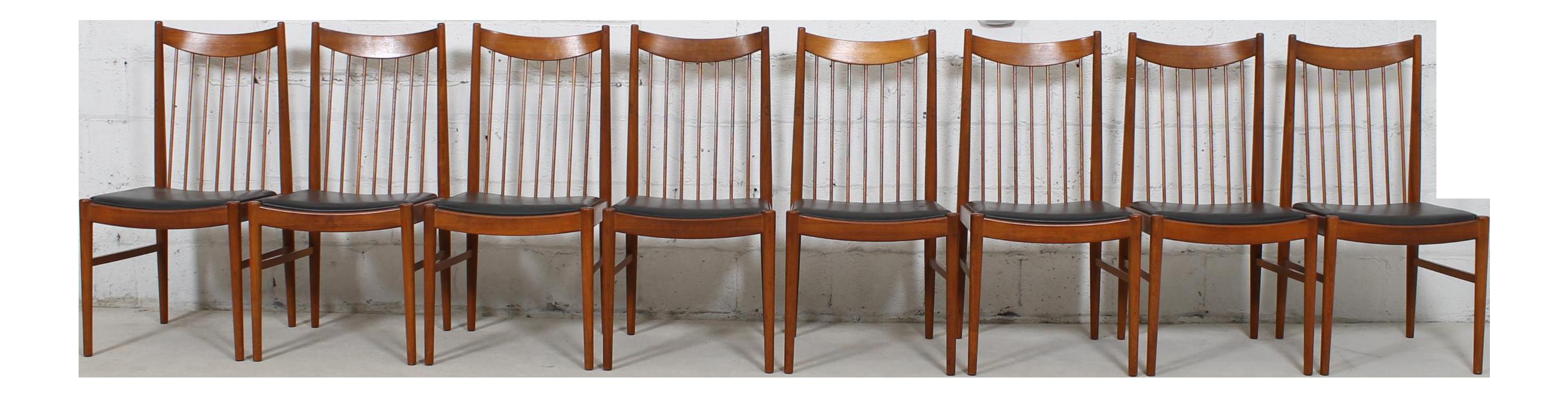 Arne Vodder Danish Modern Spindle Back Dining Chairs Set of 8