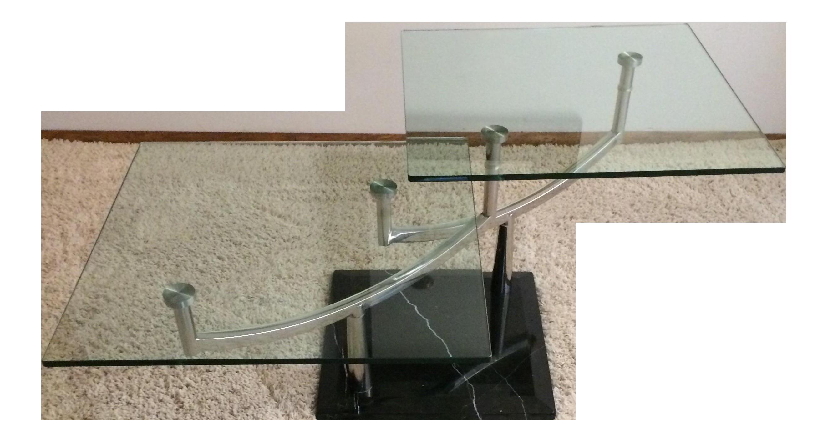 Modern Glass Chrome & Marble Base Swivel Coffee Table