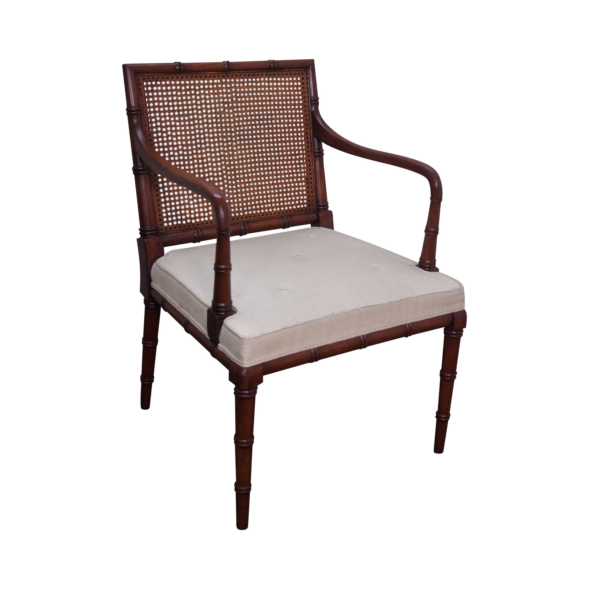 Bamboo Chair With Arms: Solid Mahogany Faux Bamboo Cane Back Arm Chair