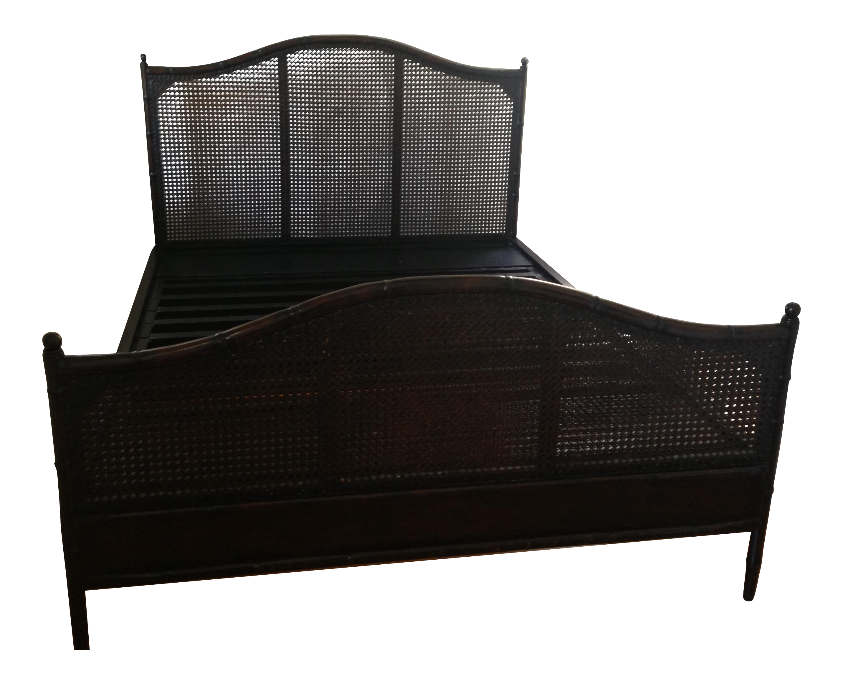 Dark Wood Sleigh Queen Bed Frame amp Rattan Headboard Chairish : dark wood sleigh queen bed frame and rattan headboard 9152 from www.chairish.com size 2862 x 2321 png 3495kB
