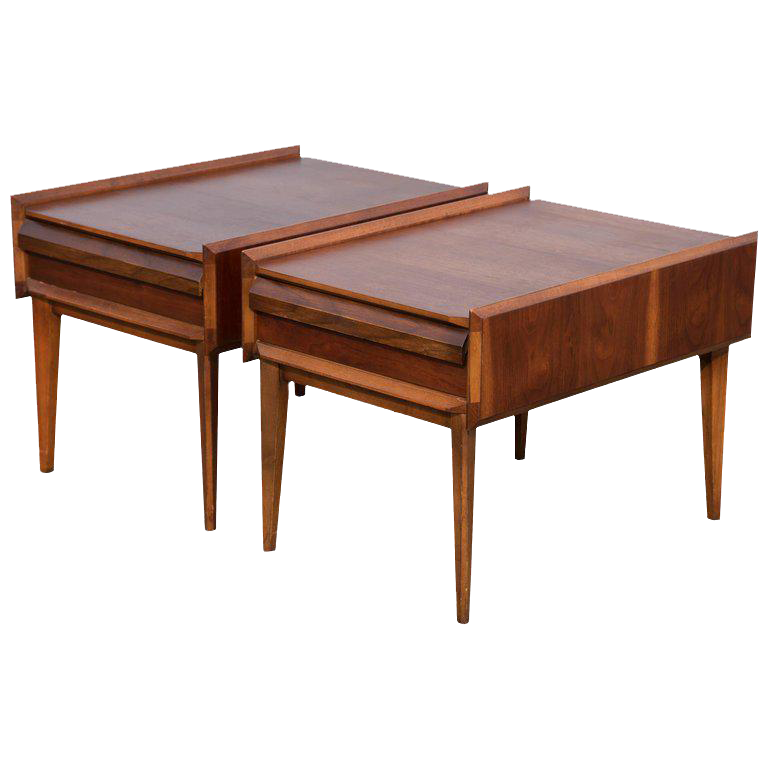 Pair of mid century modern andre bus designed end tables for 99 bus table