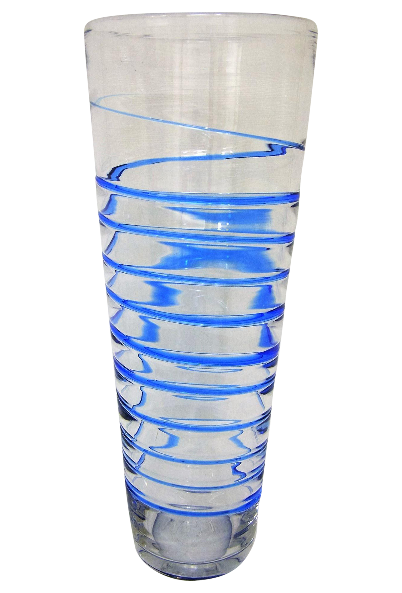 Monumental Transparent Amp Blue Glass Vintage Blenko Vase