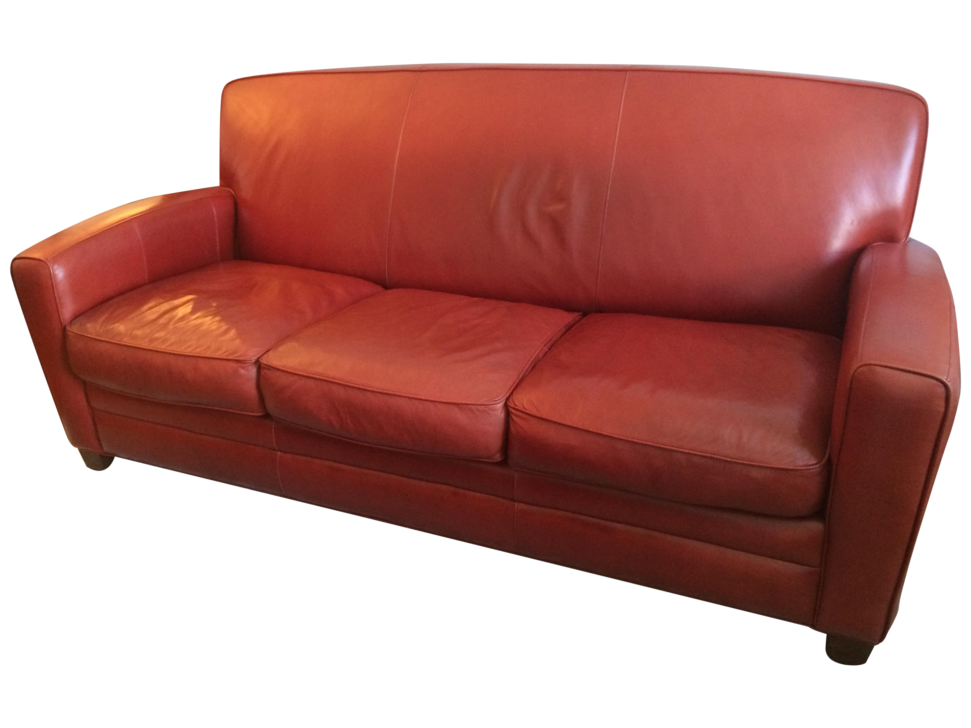 Thomasville Contemporary Red Leather Sofa Chairish