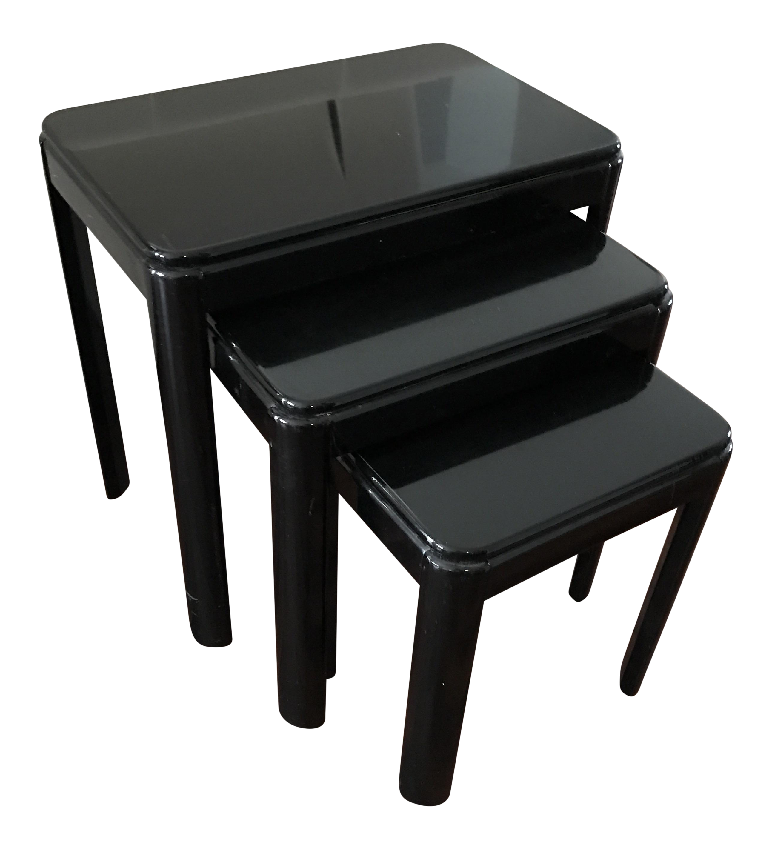 Vintage Black Lacquer Nesting Tables Set of 3