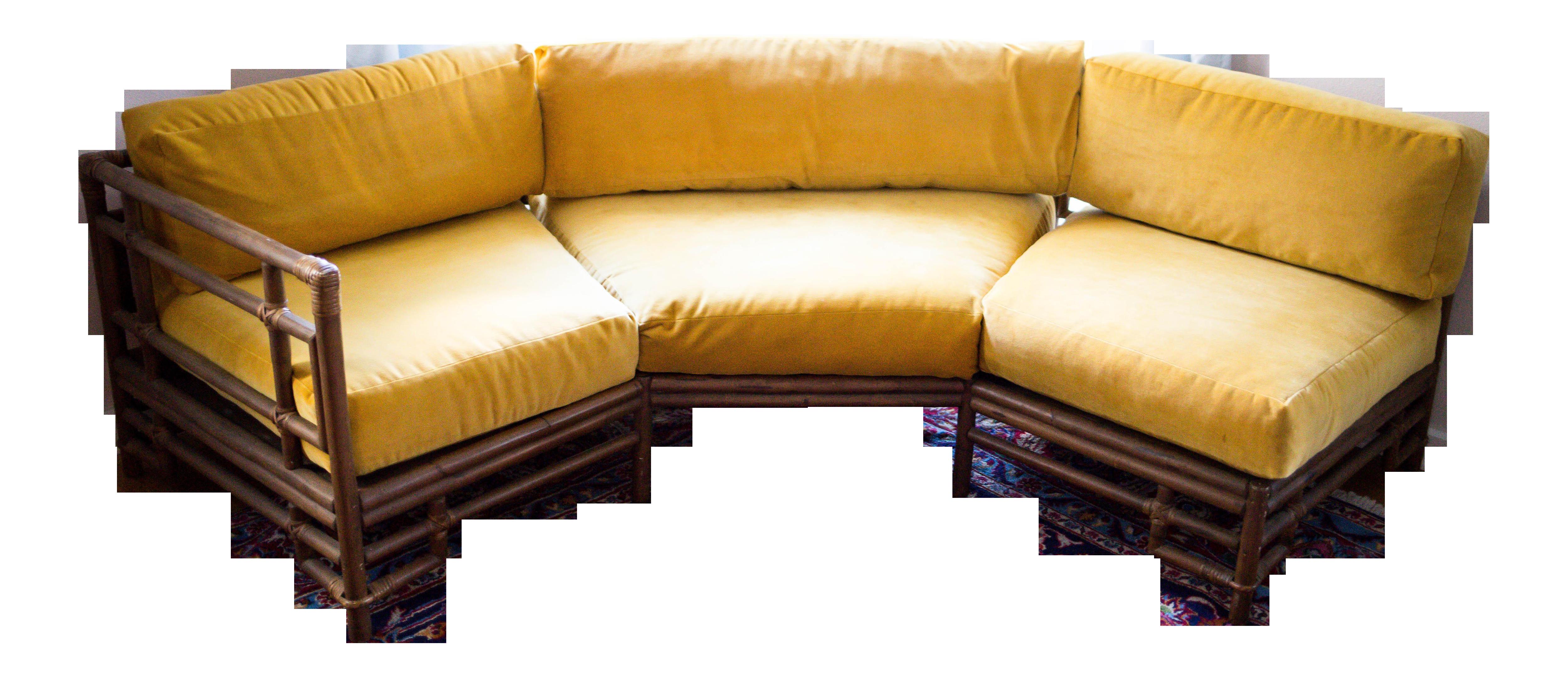 Bamboo furniture prices - Ficks Reed Mustard Velvet Bamboo Sectional