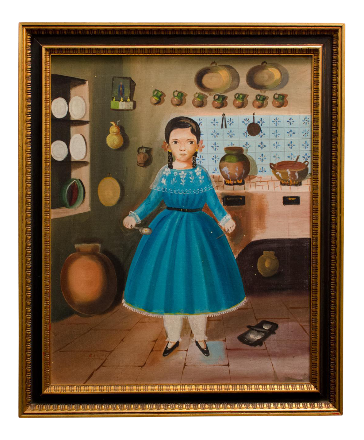 1950 39girl in kitchen39 painting by lilia carrillo chairish for Best brand of paint for kitchen cabinets with seashell prints wall art