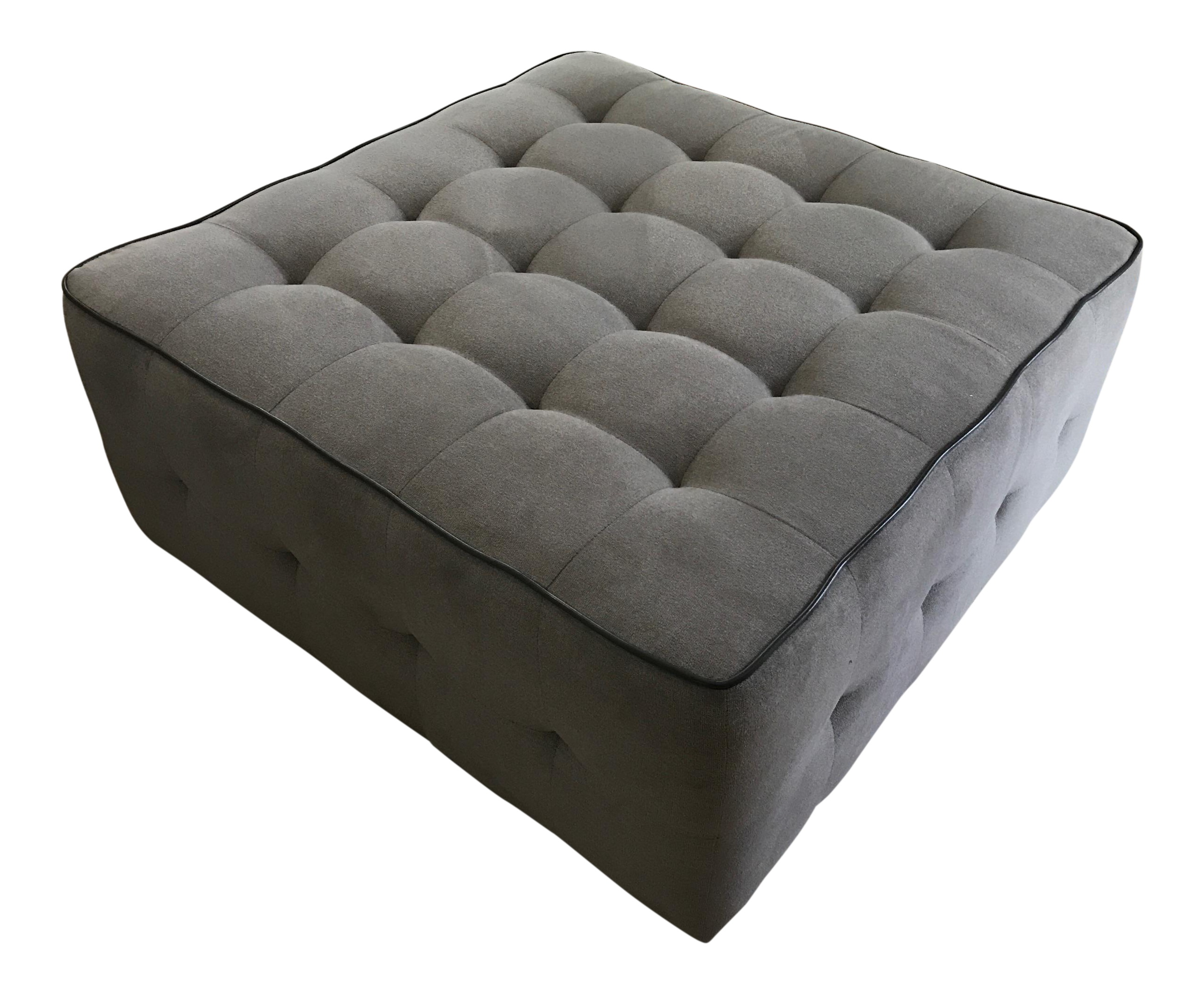 Large Tufted Square Grey Cocktail Ottoman Chairish