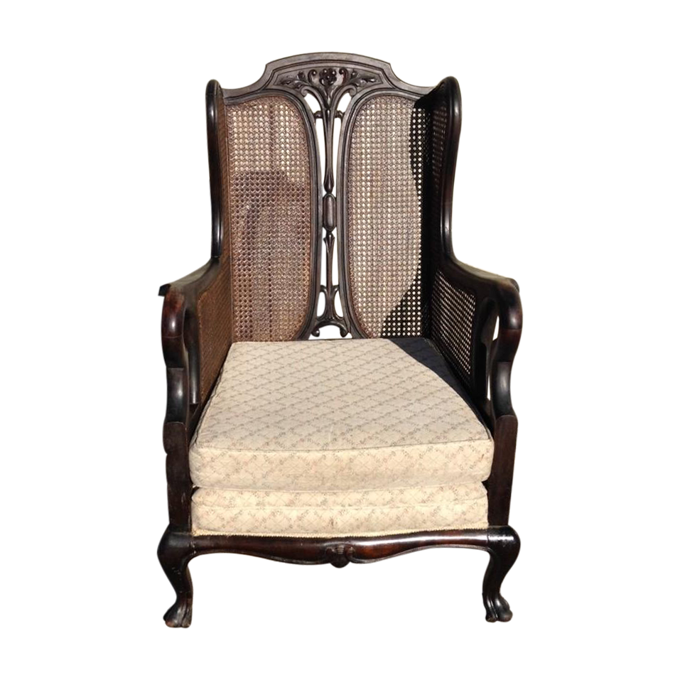 antique cane louis xv wingback chair chairish. Black Bedroom Furniture Sets. Home Design Ideas