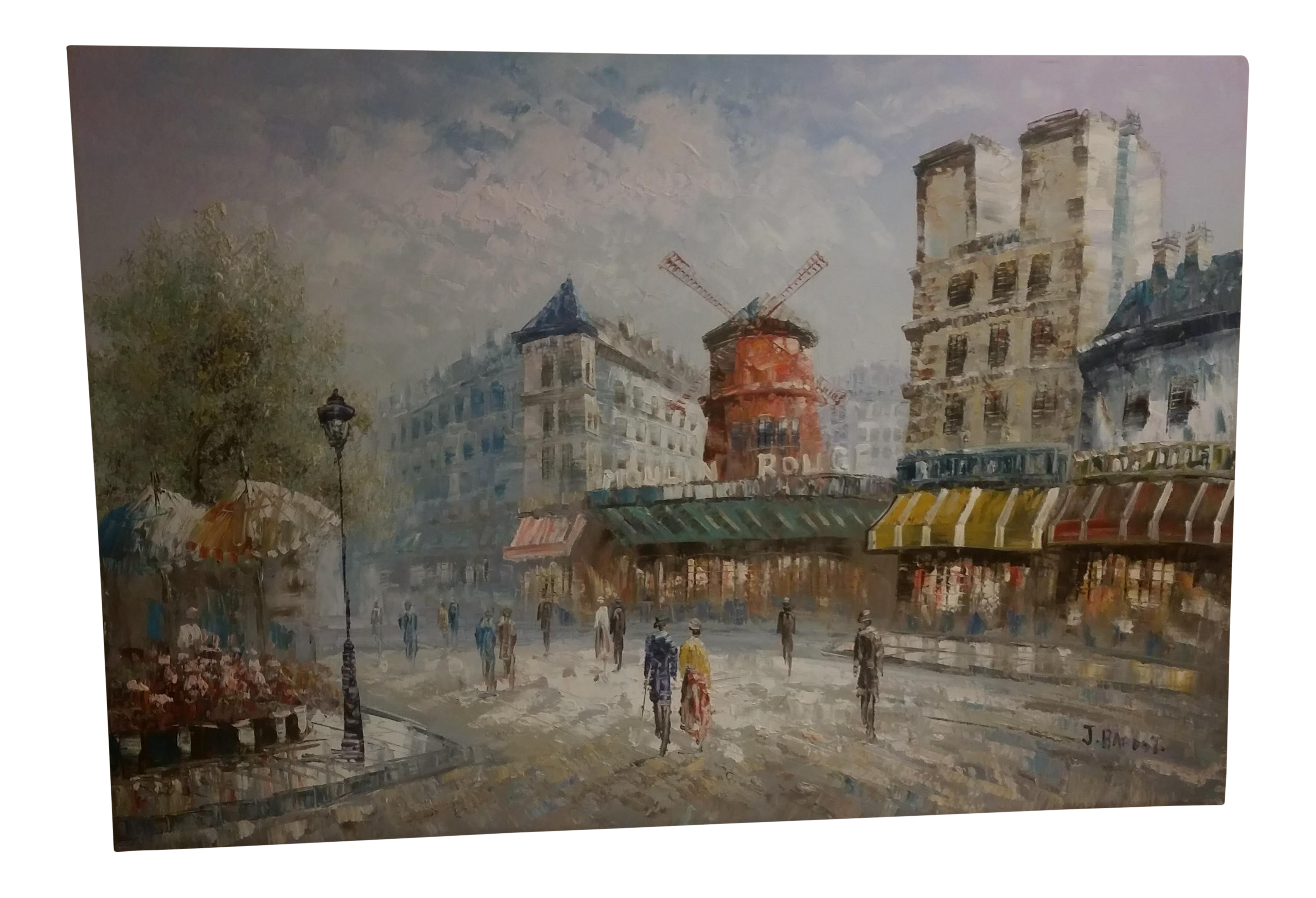 Parisian Moulin Rouge Oil Painting Chairish