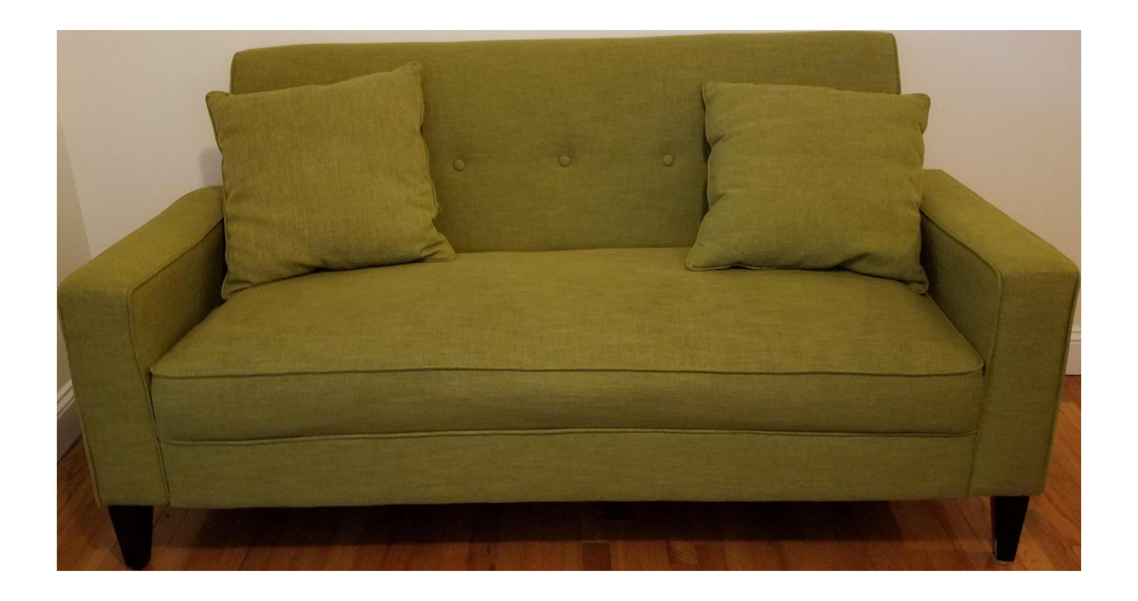 mid century style green sofa chairish. Black Bedroom Furniture Sets. Home Design Ideas
