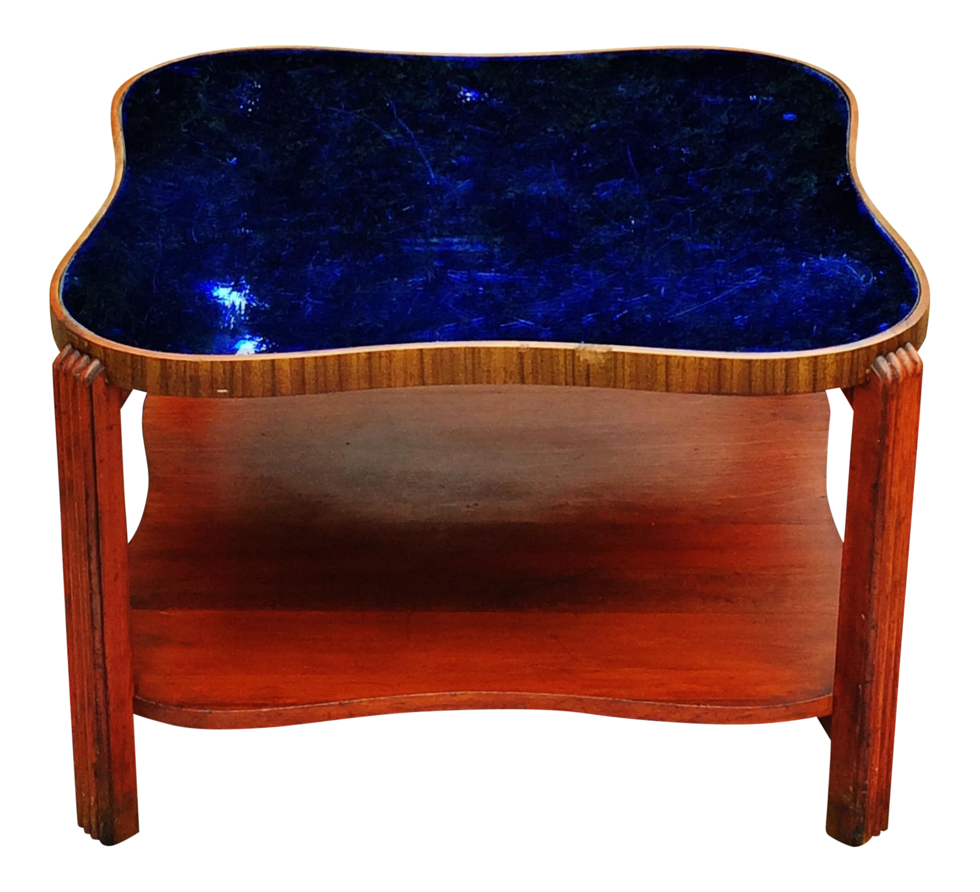 Art Deco Cobalt Blue Glass Mirror Coffee Table