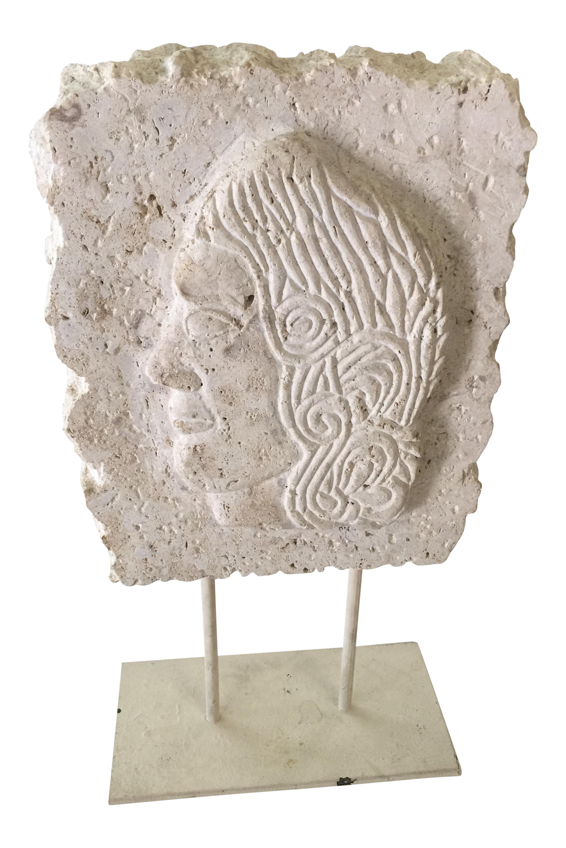 Carved stone greek relief sculpture with stand chairish