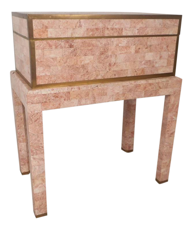 Mid Century Modern Tessellated Stone Box On A Stand By