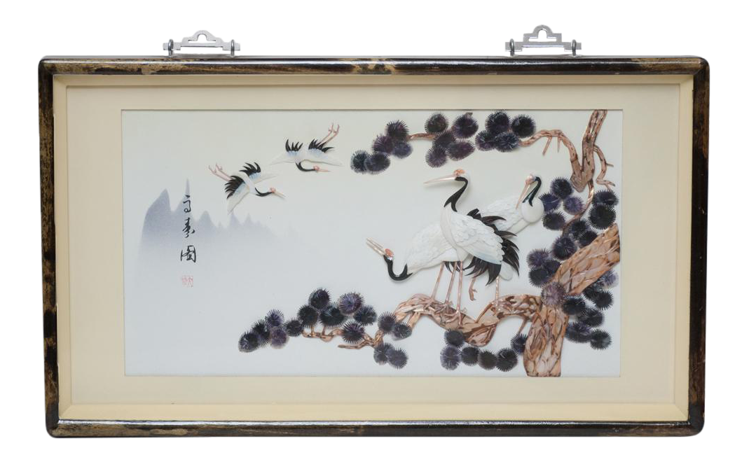mid century chinese mother of pearl jade wall art chairish. Black Bedroom Furniture Sets. Home Design Ideas