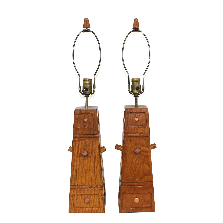 1950s Brandt Ranch Western Oak Lamps- A Pair : Chairish
