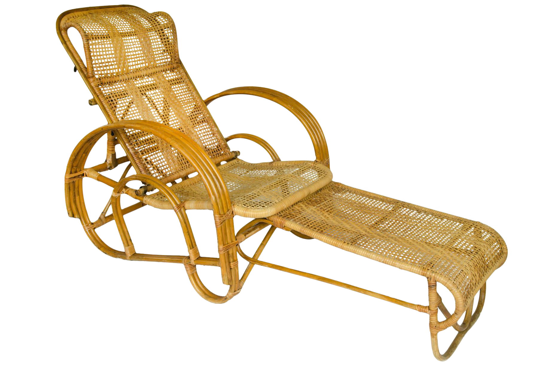 Wave chaise bed price - Vintage Rattan Reclining Lounge Chair