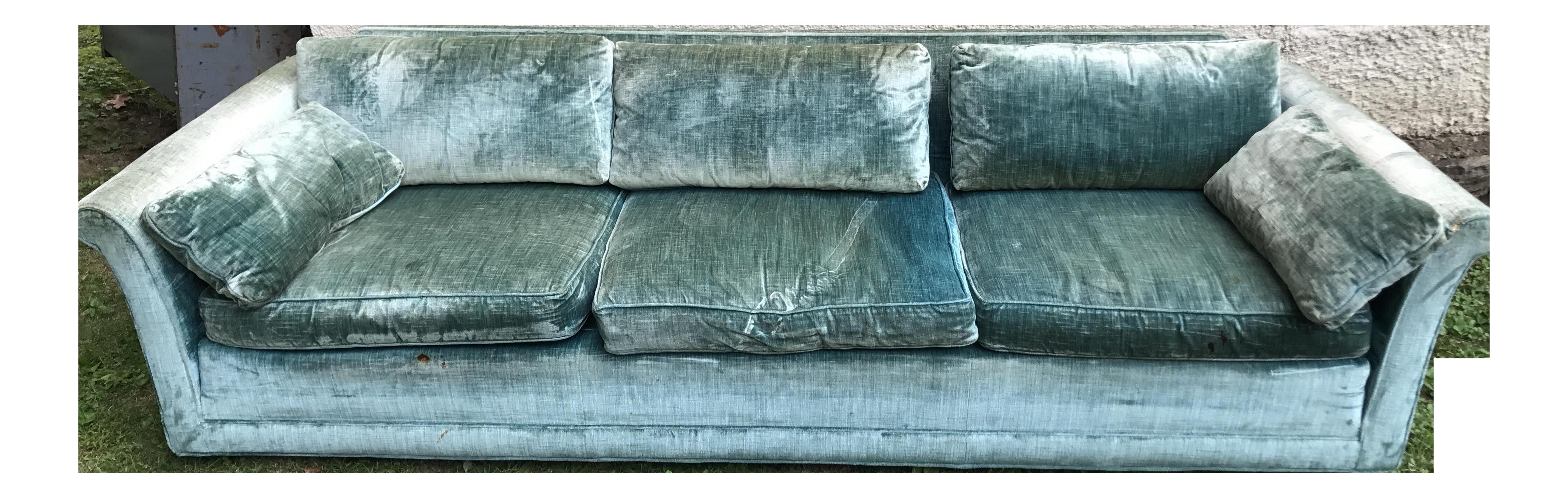Vintage john stuart turquoise velour sofa couch chairish for Velour divan beds