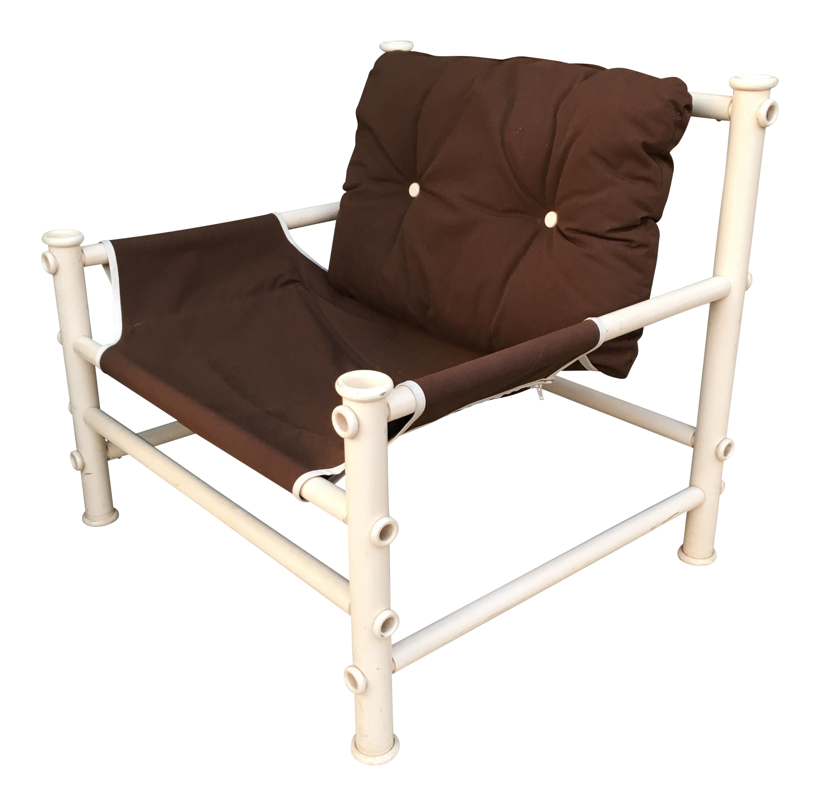 Vintage pvc pipe lounge chair chairish for Pvc pipe lounge chair