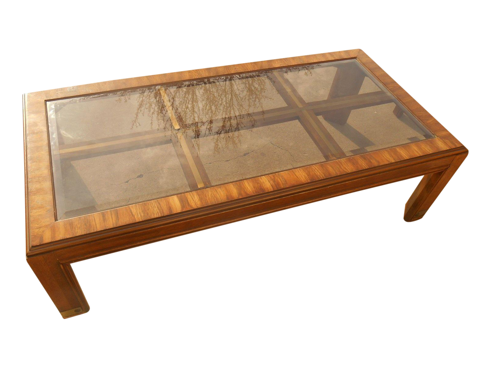 Mid Century Burl Wood & Brass Coffee Table