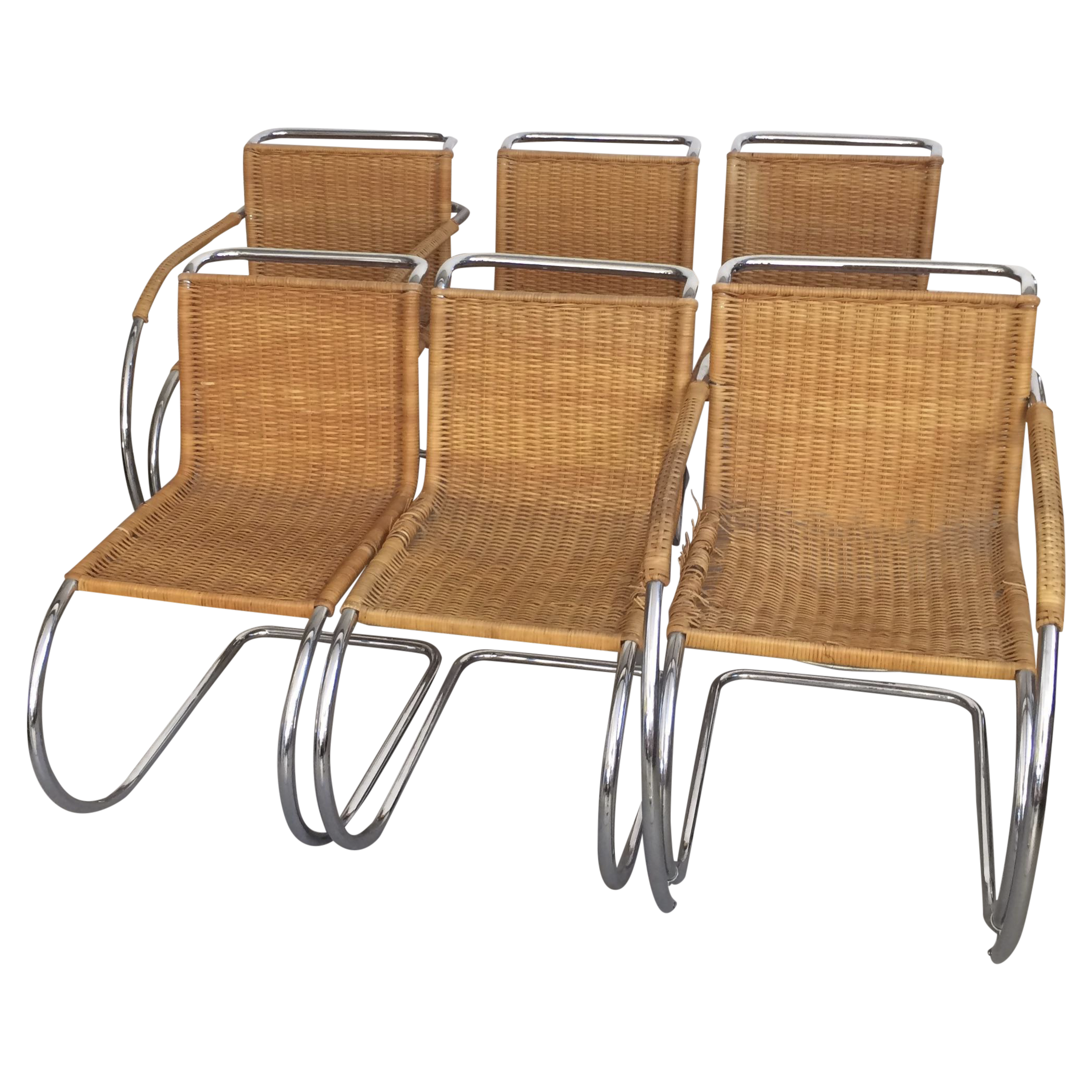 mies van der rohe mr chrome chairs set of 6 chairish. Black Bedroom Furniture Sets. Home Design Ideas