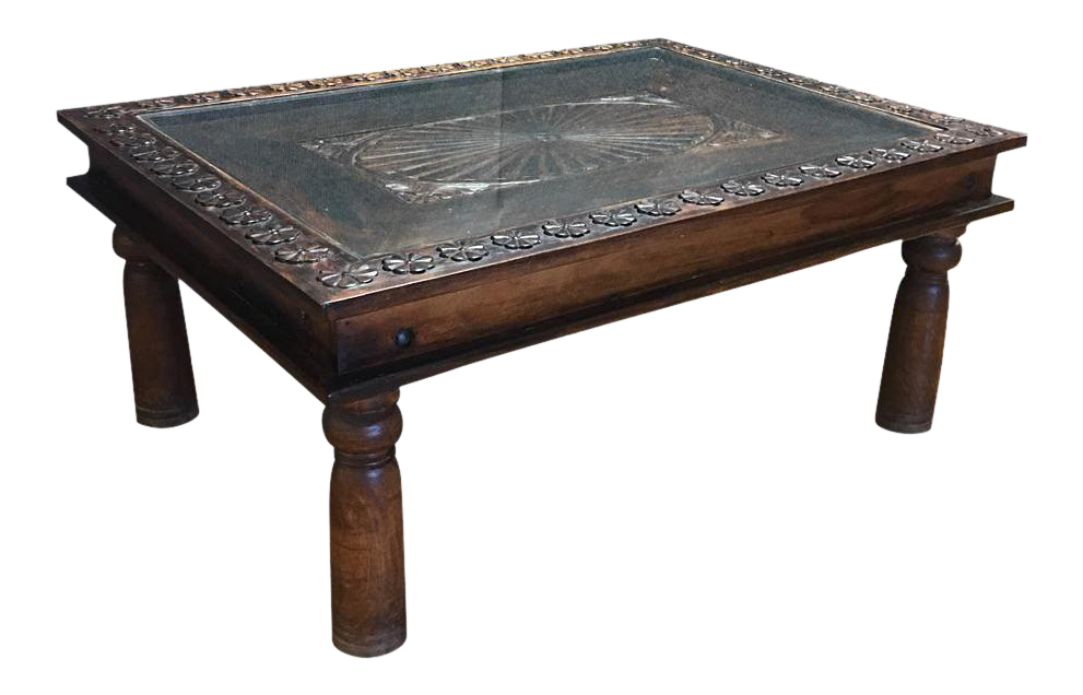 Indian Teak Wood Coffee Table Chairish