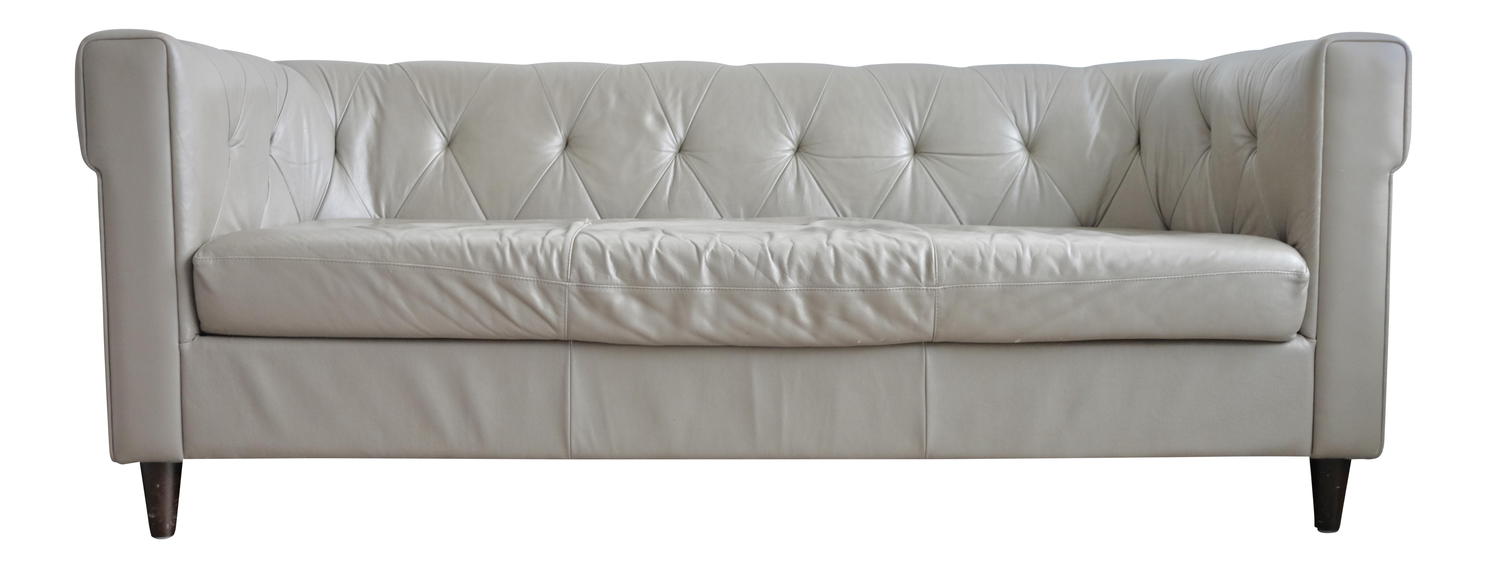 west elm chester tufted leather sofa chairish