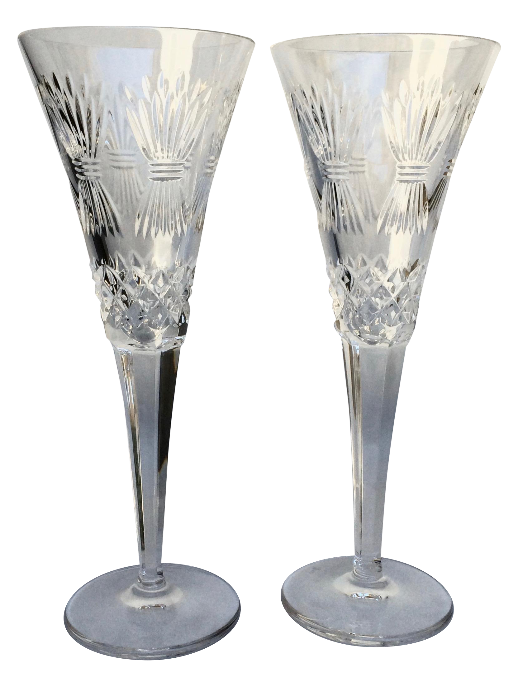 Waterford Crystal Champagne Flutes A Pair Chairish