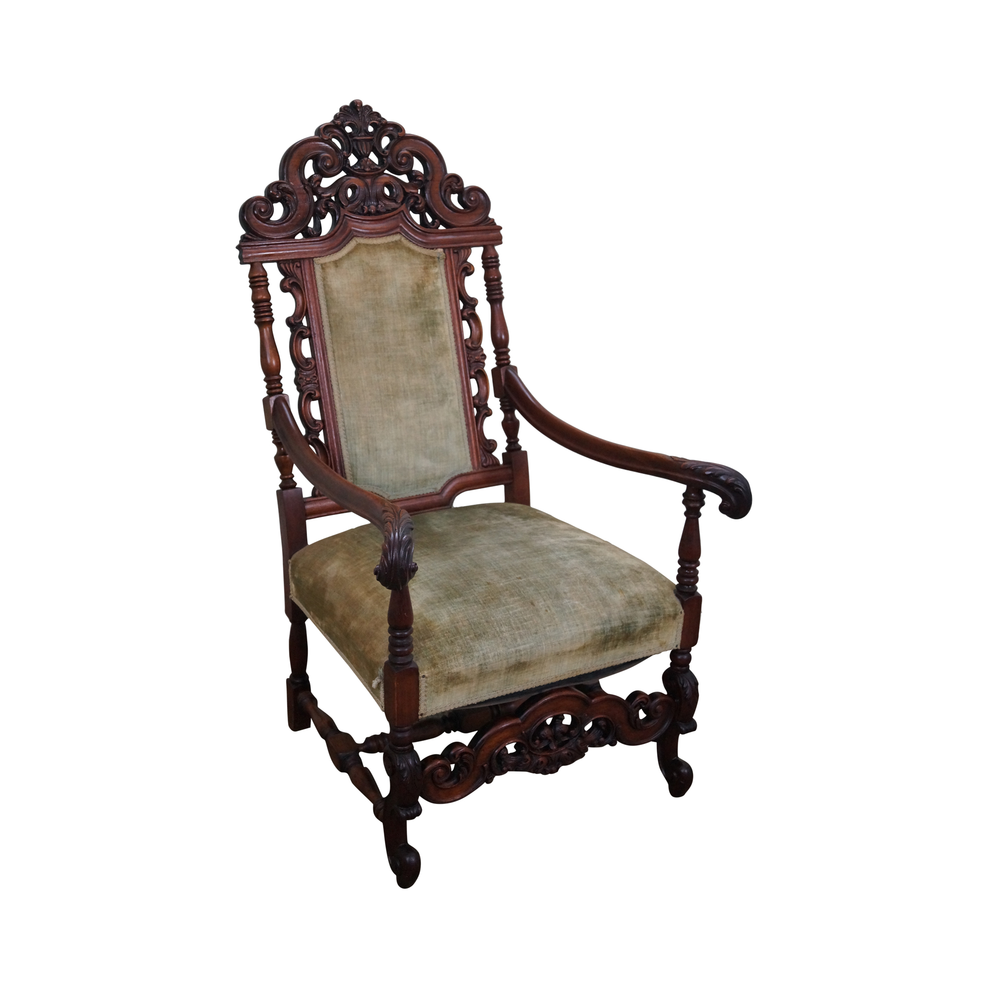 Antique 19th Century Heavily Carved Throne Chair
