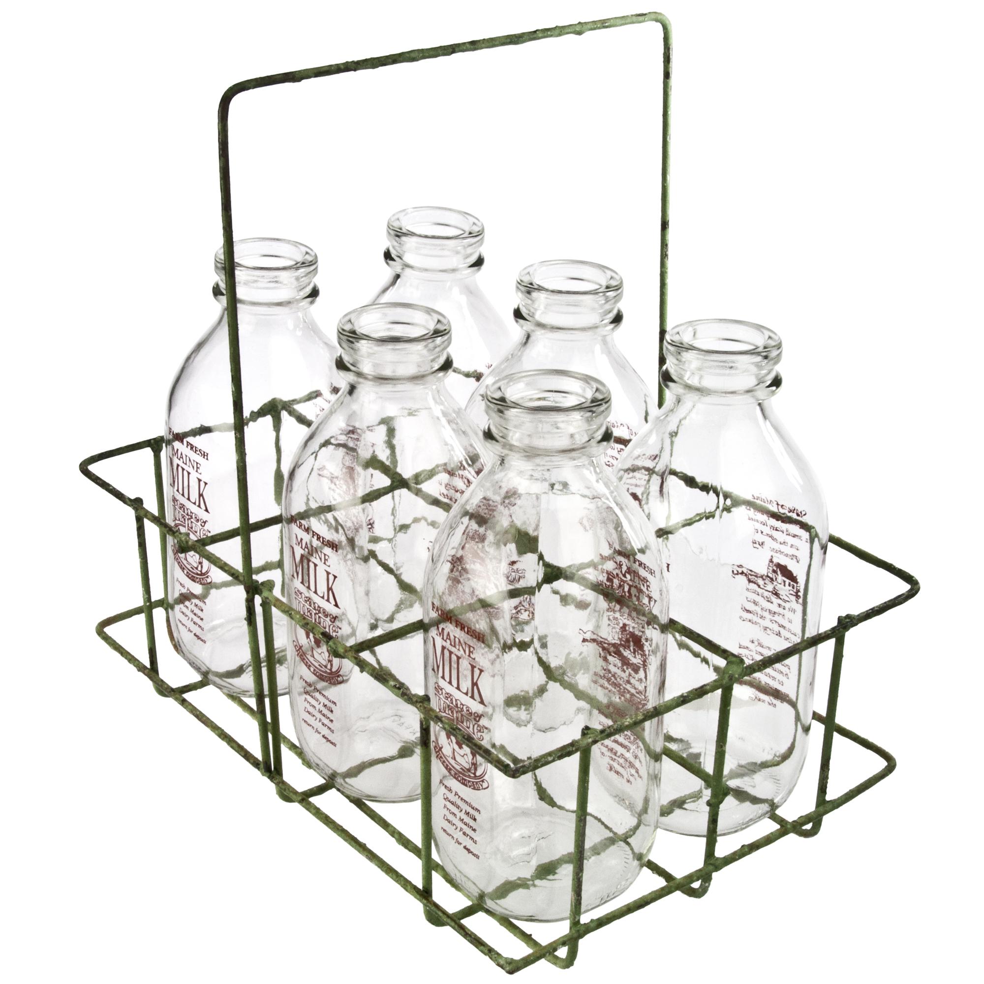 vintage wire milk bottle carrier bottles chairish. Black Bedroom Furniture Sets. Home Design Ideas