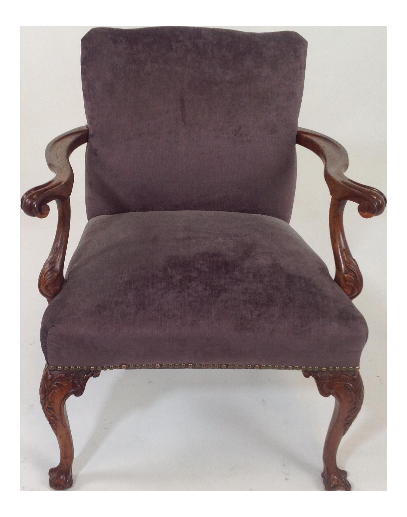 Purple velvet chair - Image Of Antique Purple Velvet Claw Foot Chair