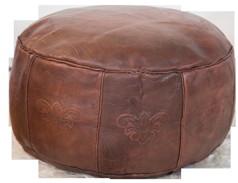 Antique Whiskey Leather Moroccan Pouf Ottoman Chairish