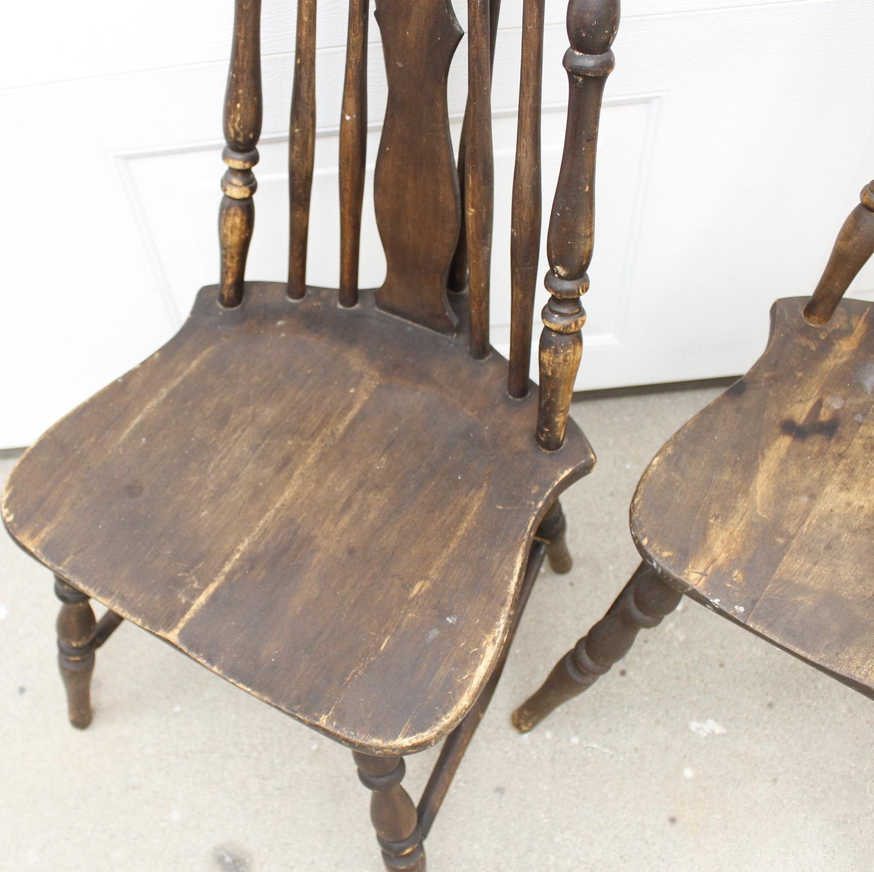 Antique windsor chair - Image Of Antique Splat Tapered Back Windsor Chairs A Pair