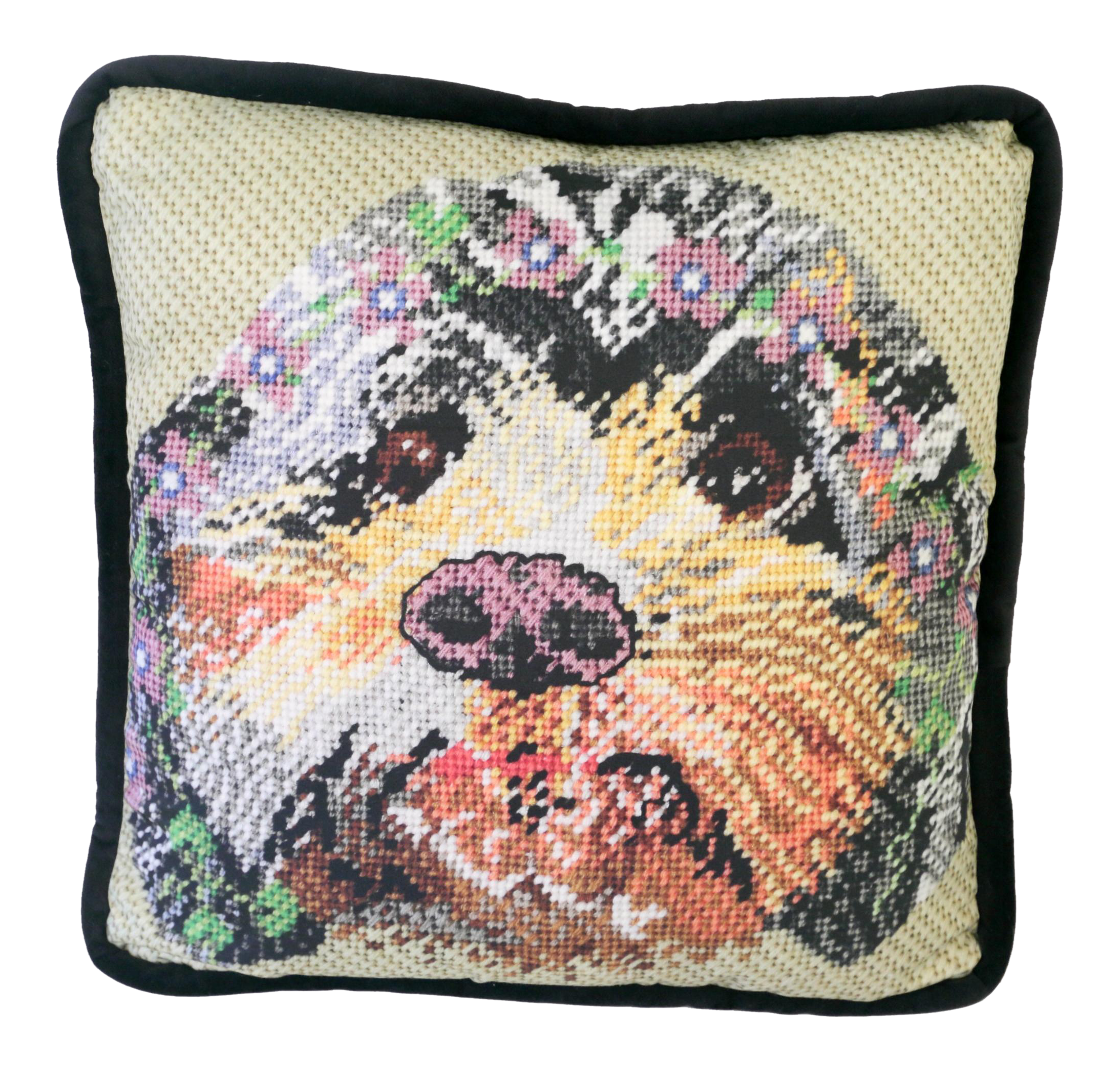 Animal Print Needlepoint Pillows : Printed Needlepoint Dog Pillow, Handcrafted Chairish