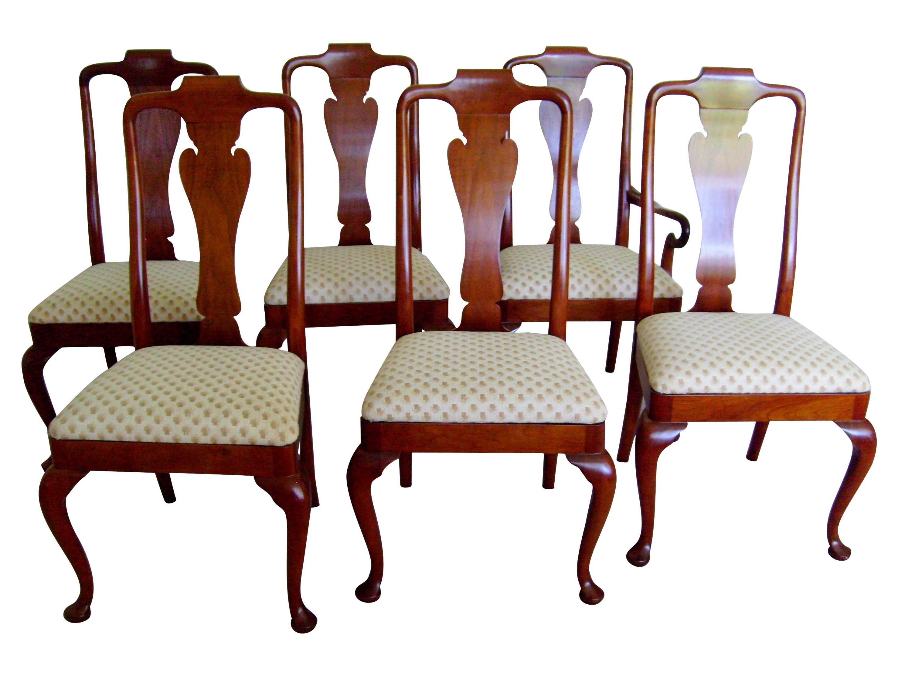 Queen anne style dining chairs by baker set of 6 chairish for Dining room chairs queen anne