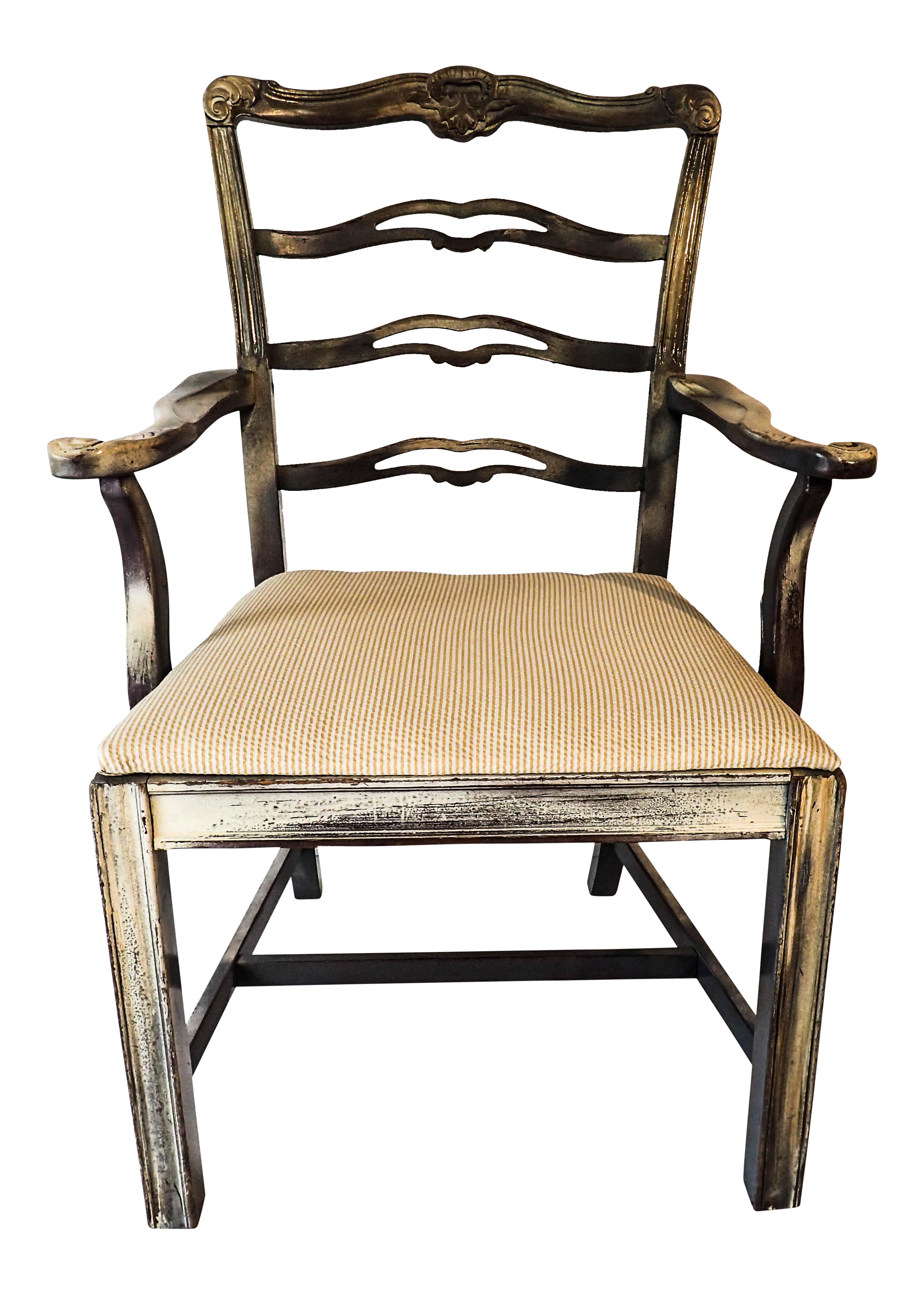 Chippendale Style Ribbon Back Side Chair Distressed 38 X