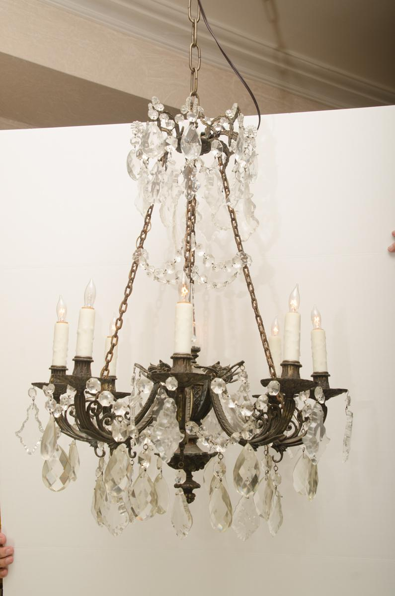 Superb iron and crystal converted gas light chandelier decaso image of iron and crystal converted gas light chandelier arubaitofo Images