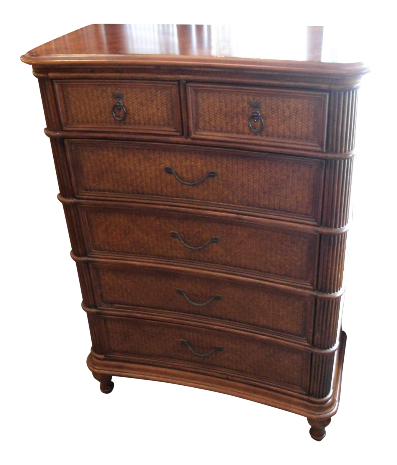 kathy ireland rattan chest of drawers chairish. Black Bedroom Furniture Sets. Home Design Ideas