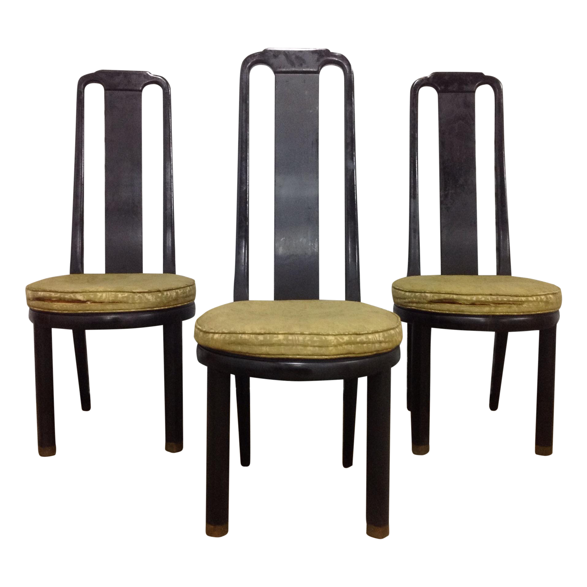 Asian Modern Black Lacquer Chairs By Henredon 3 Chairish