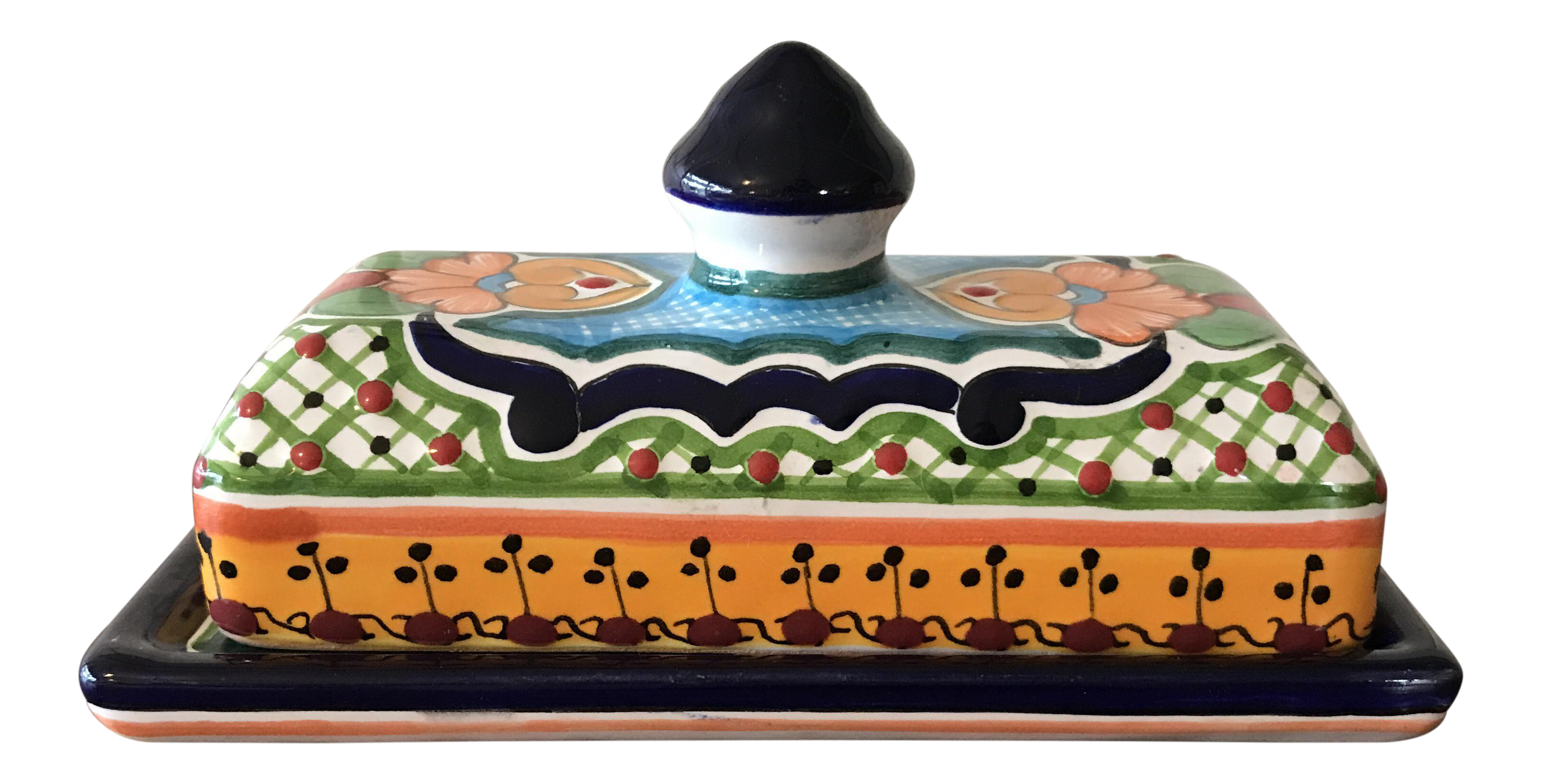 Talavera Mexican Pottery Covered Butter Dish Chairish