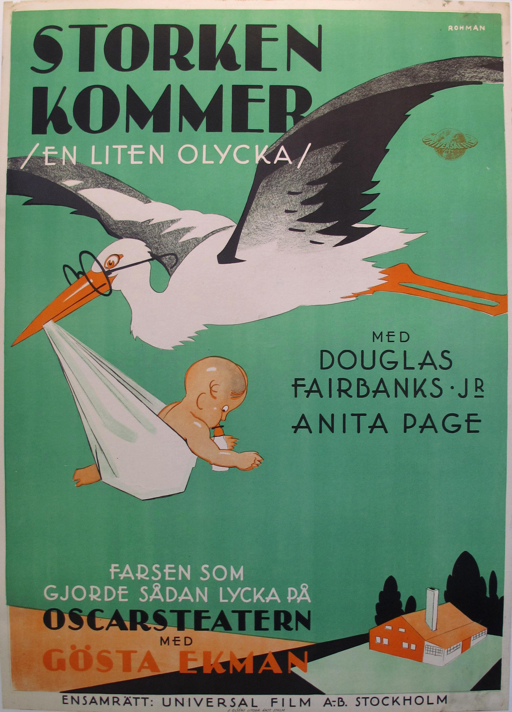 1930s Vintage Danish Movie Poster Storken Kommer Chairish