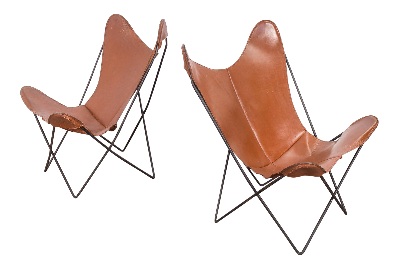Incredible Pair Of Tabacco Brown Hardoy Butterfly Chairs For Knoll | DECASO