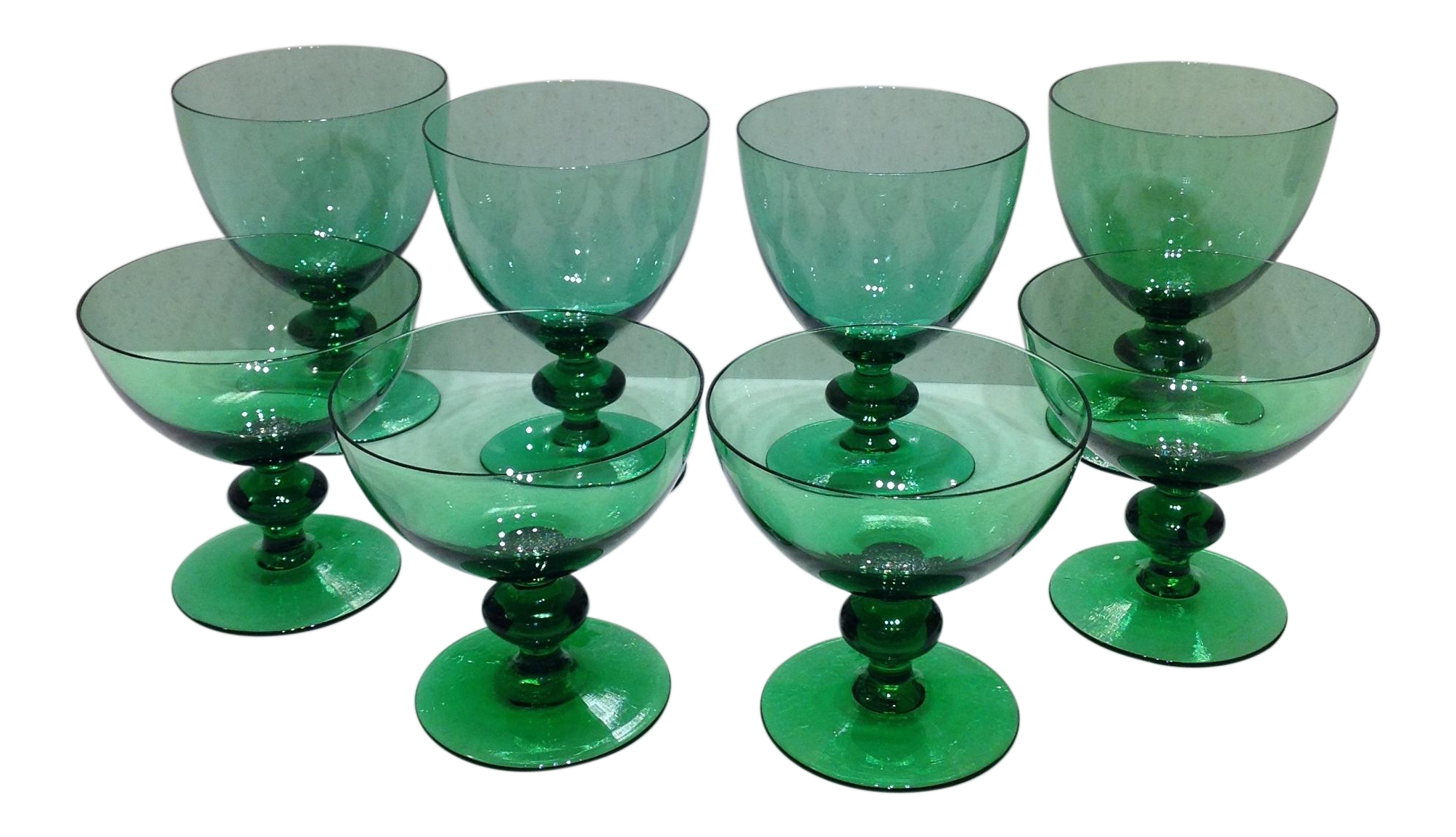 Vintage Emerald Green Crystal Stemware - Set of 8 : Chairish
