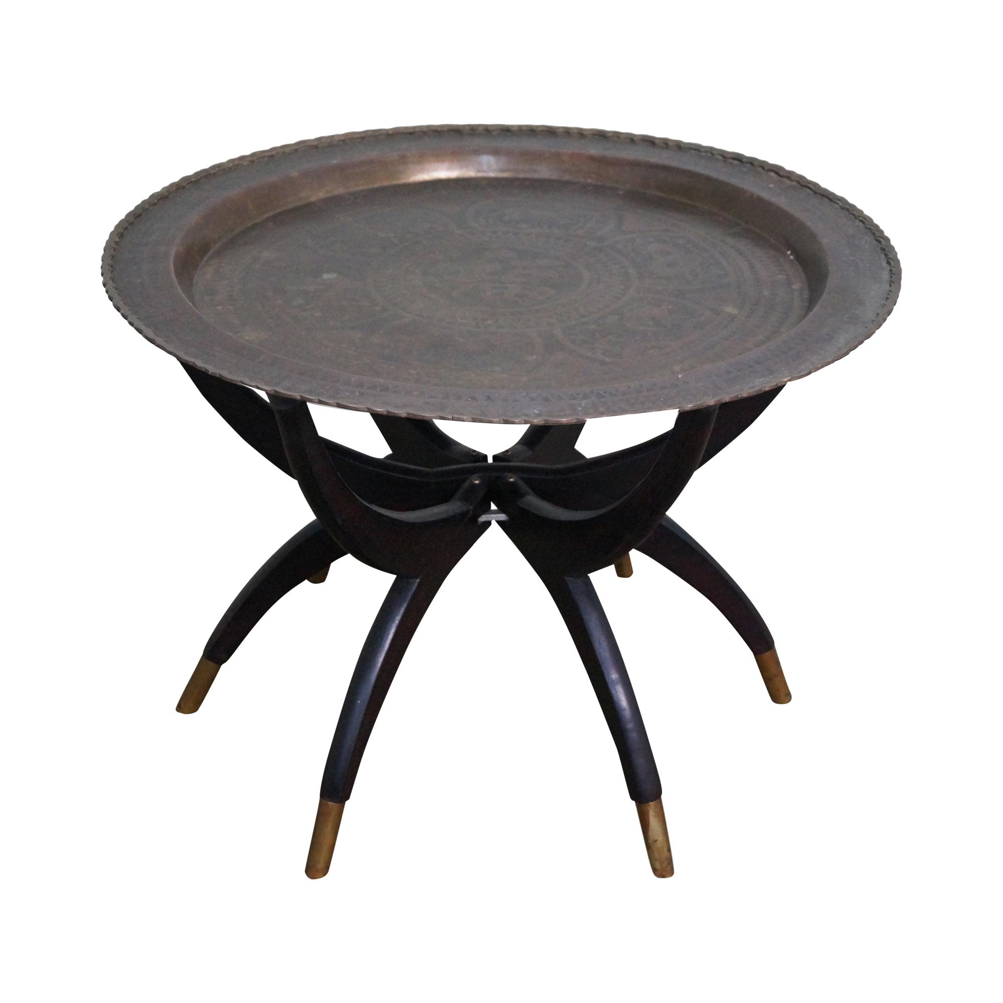 Coffee Table Tray Ebay: Asian Brass Tray Top Folding Coffee Table