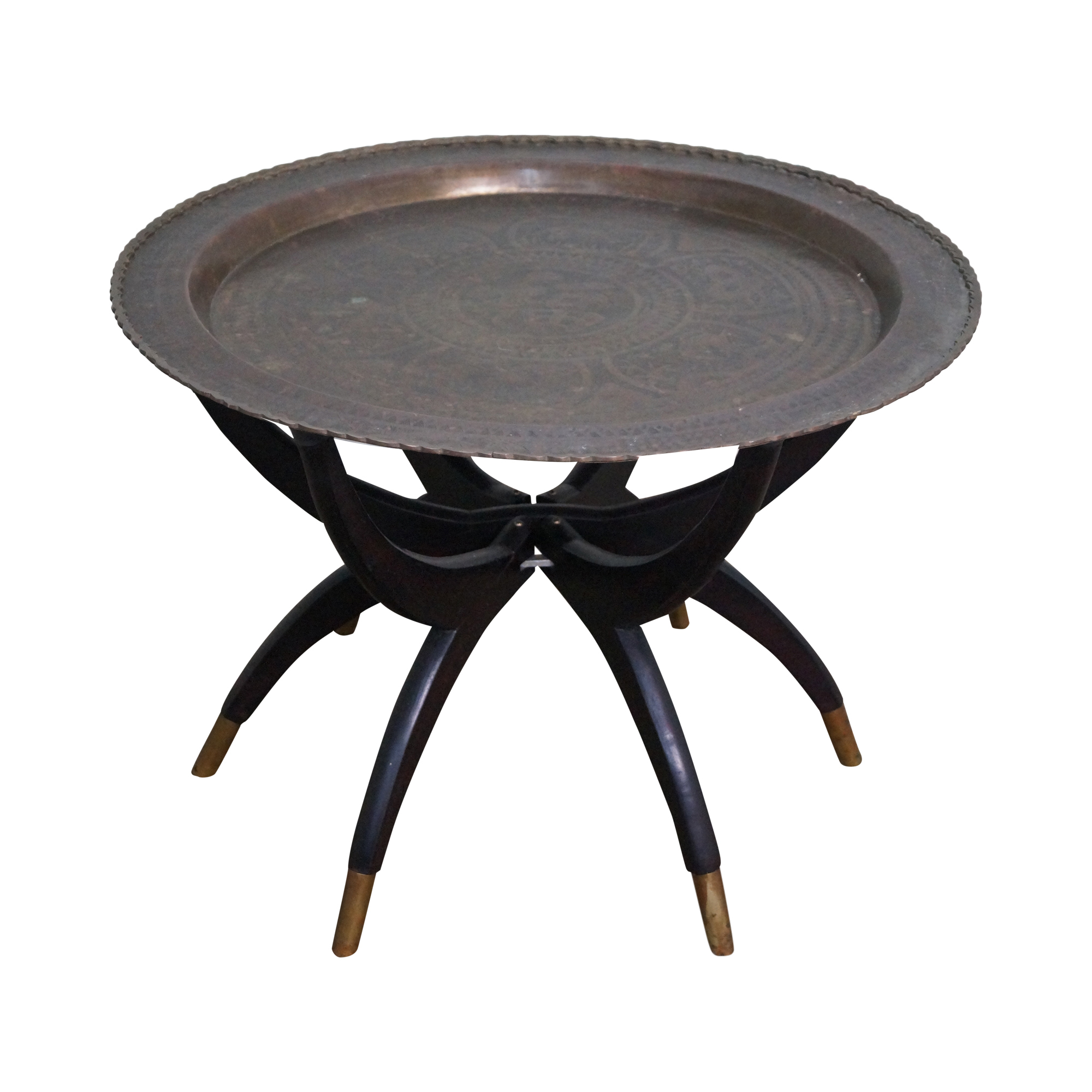 Asian Brass Tray Top Folding Coffee Table