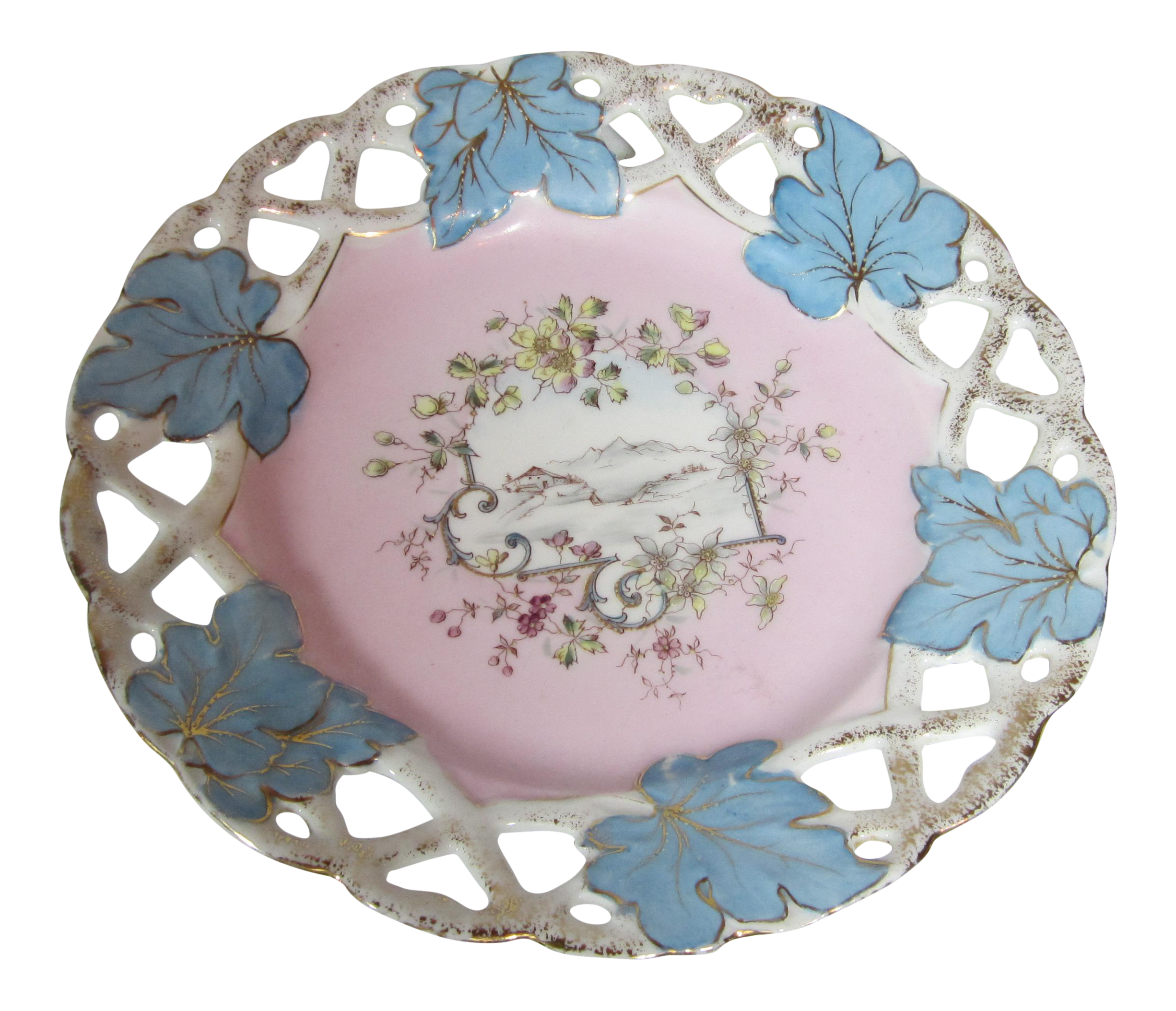 German pink blue decorative plate chairish