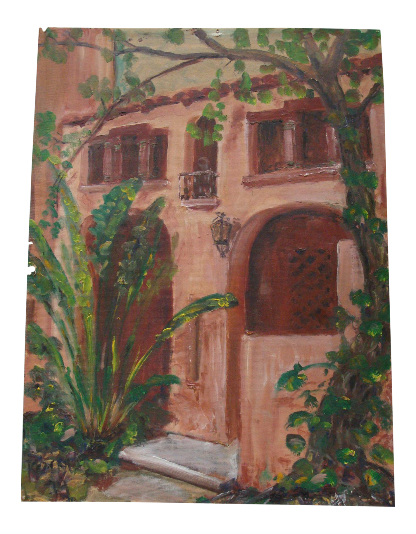 Southwestern spanish colonial stucco facade oil painting for Stucco facade