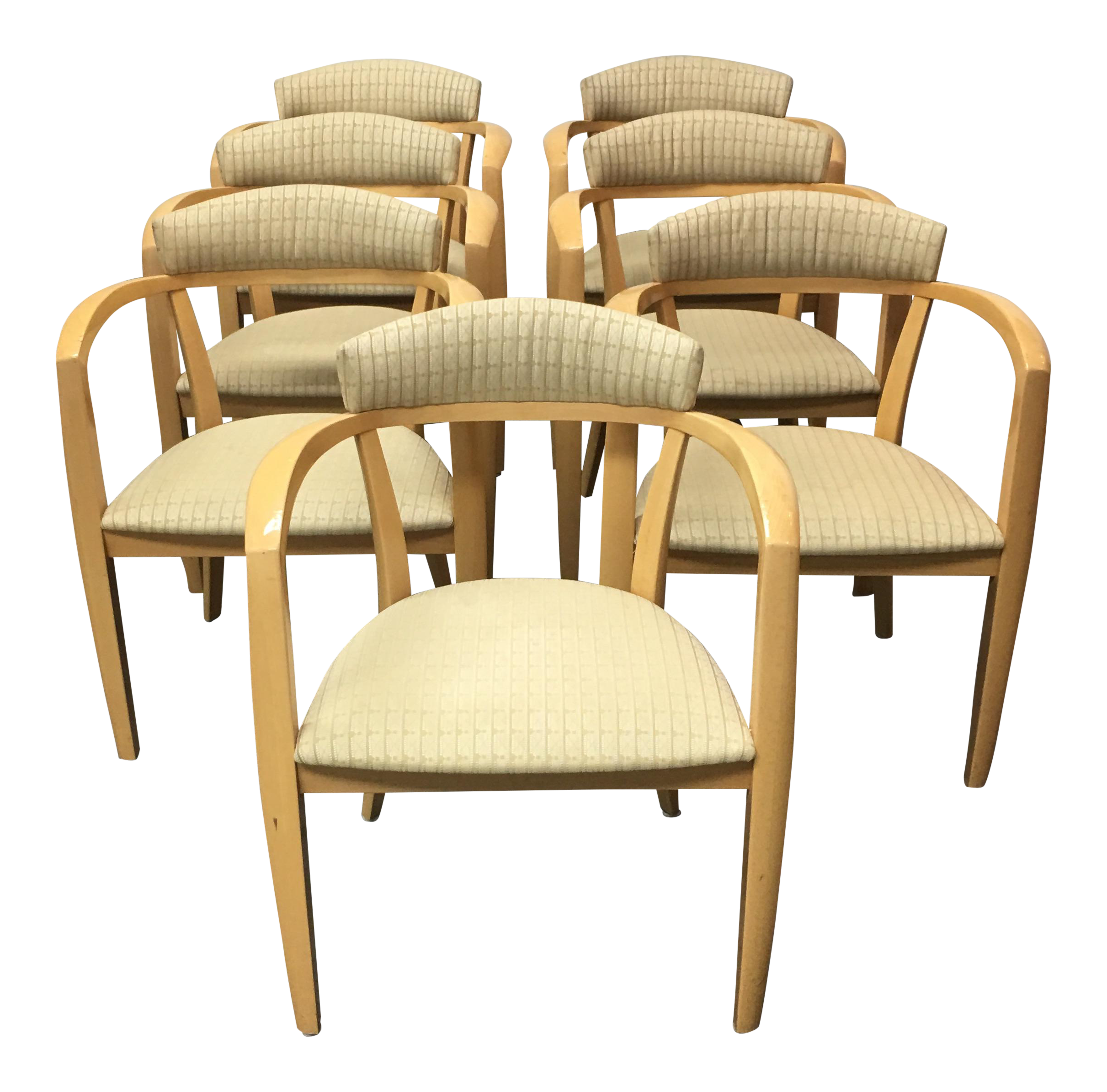 Mid Century Light Maple Lowenstein Dining Chairs Set of 7