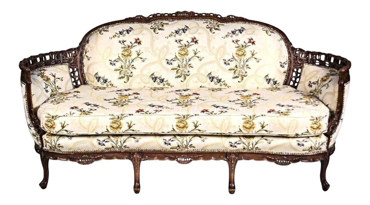 louis xv style canape en corbeille settee chairish. Black Bedroom Furniture Sets. Home Design Ideas